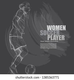 women soccer vector illustration. chalk drawing style.