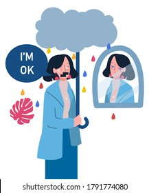 women sorrow expression holding stick look in mirror cloud drops rain water color self support with flat cartoon style vector design