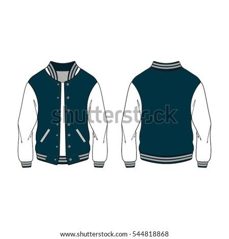 Women Sport Varsity Jacket Template Stock Vector Royalty