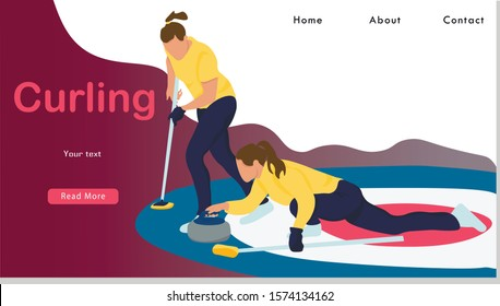Women Sports Team Playing Curling Game Website Landing Page. Girls Sweeping Ice with Special Brushes and Pushing Granite Stones to Target on Ice  Web Page Banner. Cartoon Flat Vector Illustration