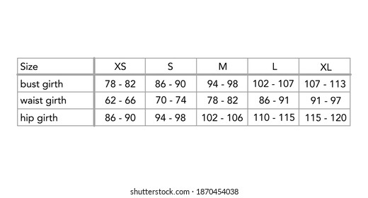 Women standard body measurements for different country, style fashion lady size chart for site, production and online clothes shop. S, M, L, XL, US, UK, EU, French, Italy, Japan, Aus, bust, waist, hip