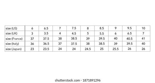 Women standard shoe size measurements in cm, style fashion lady size chart for site, production and online clothes shop. US, UK, EU, France, Italy, Japan, Aus, bust, waist, hip