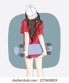 Women standing skateboarding in the summer.Teen skateboarders are posing and standing, turning their backs against the wall.Doodle art concept,illustration painting