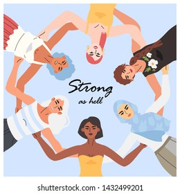 Women standing together in a circle with their hands on their backs. The concept of support, understanding, unity, collaboration and women friendship. A card or a banner with strong women smiling.