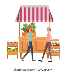 women in store kiosk with vegetables avatar character