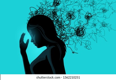 A women struggling with stress related issues. Vector illustration.