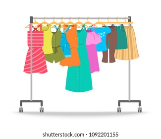 Women summer casual clothes on hanger rack. Flat style vector illustration. Female apparel hanging on shop rolling display stand. New fashion outfit collection. Seasonal sale concept