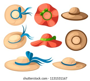 Women summer hat set. Colorful summer collection icon. Flat vector illustration isolated on white background.