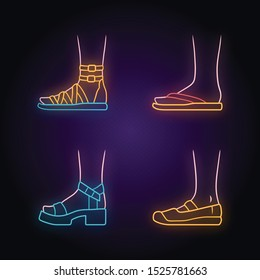 Women summer shoes neon light icons set. Female elegant formal and casual footwear. Stylish gladiator sandals, flip flops, platform heels. Glowing signs. Vector isolated illustrations