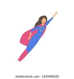 Women superhero. Strong woman is flying. Girl power vector concept.