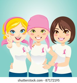 Women supporting and helping a friend fight breast cancer after chemotherapy