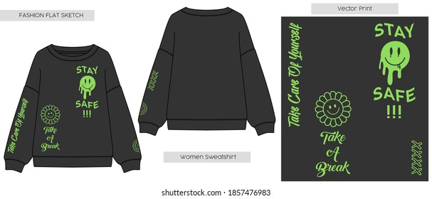 Women Sweatshirt with Positive Vector Print. Fashion Cad design. Flat sketches technical drawings Illustrator vector template. Retro happy Illustration.