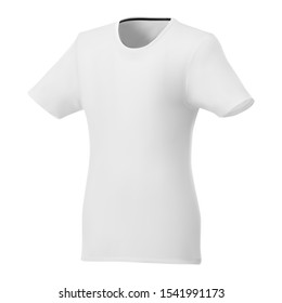 Women t shirt white template. Short sleeve sport mockup v neck blank design. Stylish casual collar raglan. Lady workout outfit. Fashion apparel 3d mock up. Female top