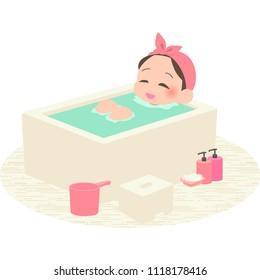 Women take a bath