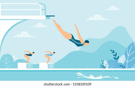 Women Taking Part in High Diving Competition Race. Cartoon Female Diver Swimmer in Swimsuit Jumping from Trampoline, Board, Podium. Summer Individual Water Sport. Vector Flat Illustration