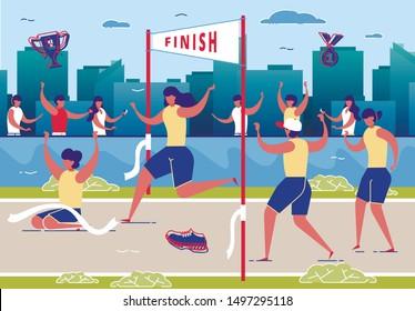 Women Taking Part in Running Competition Flat Cartoon Vector Illustration. Crossing Finish Line on Stadium. Healthy Lifestyle, Sport, Activity, People Jogging Marathon. Winner in Contest.