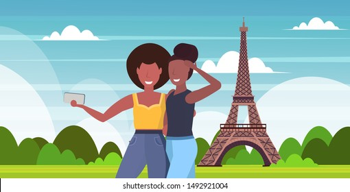 women taking selfie photo on smartphone camera mix race girls standing together travel concept paris abstract city silhouette background flat portrait horizontal