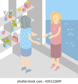 women talk home cocktail party isometric illustration
