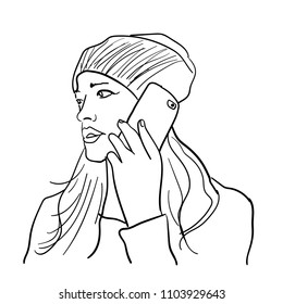 women talking on a phone illustration sketch hand drawn outline