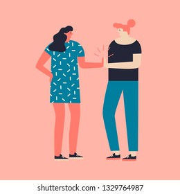 Women team work concept. Two characters women are giving high five illustration in vector. International women day card or poster