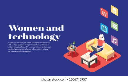 Women and technology isometric poster with young girl in headphones sitting on sofa with laptop vector illustration