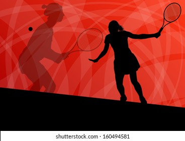 Women tennis players active sport silhouettes vector background illustration