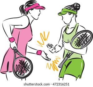 women tennis team illustration