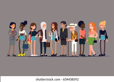 Women together. Cool vector character design on diverse group of girls standing. Flat design illustration on worldwide women community. International, multiethnic and multicultural female community