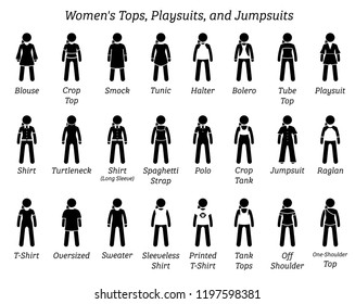Women tops, playsuits, and jumpsuits. Stick figures depict a set of different type of tops, t-shirt, shirts, playsuits, and jumpsuits. This fashion clothing designs are wear by female, lady, and girl.