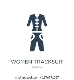women tracksuit icon vector on white background, women tracksuit trendy filled icons from Fashion collection, women tracksuit vector illustration