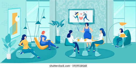 Women Training Courses. Psychological Help and Support. Coach Telling how Find Love, Build Strong Relationships, Research Solution. Cozy Room Interior. Group of Ladies and Trainer. Vector Illustration