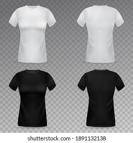 Women t-shirt mockup. Realistic black and white female t-shirts front and back view template, girls clothes marketing branding collection empty textile 3d vector isolated on transparent background set