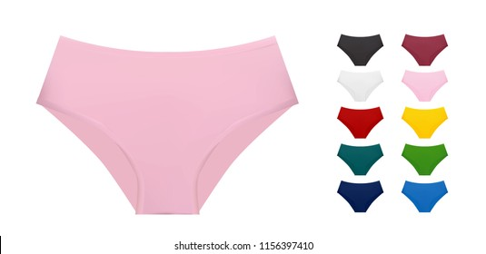 Women underwear collection of different colors, vector eps10 illustration isolated on white background