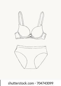 c889e16027 Women underwear  panties and bra. sketch vector