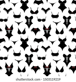 Women underwear pattern seamless on the white background. Vector