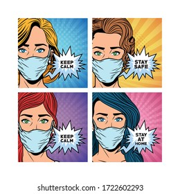 women using face masks for covid19 saying messages vector illustration design