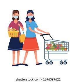 women using face masks in supermarket vector illustration design