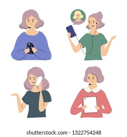 Women using gadgets - smartphone and tablets  illustrations