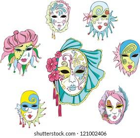 Women in Venetian carnival masks. Set of vector illustrations