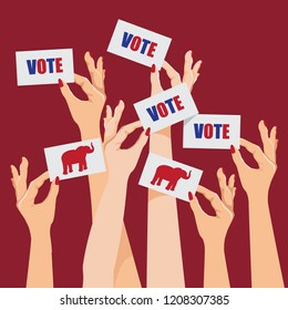 Women voting Republican. White women's hands holding cards that say vote. Republican elephant. EPS10 vector illustration.
