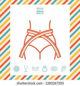 Women waist with measuring tape, weight loss, diet, waistline - line icon. Graphic elements for your design