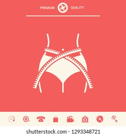 Women waist with measuring tape, weight loss, diet, waistline - icon. Graphic elements for your design