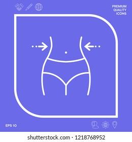Women waist, weight loss, diet, waistline - line icon. Graphic elements for your design