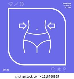 Women waist, weight loss, diet, waistline line icon. Graphic elements for your design