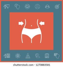 Women waist, weight loss, diet, waistline icon. Graphic elements for your design