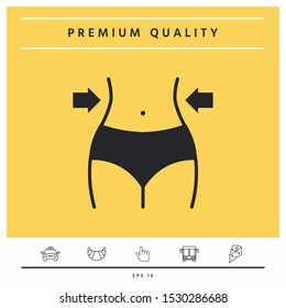 Women waist, weight loss, diet, waistline icon. Graphic elements for your design