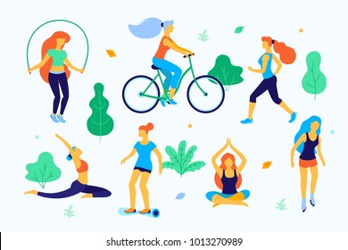 Women walking in the park vector flat illustration. Girls doing sports in the park, running, skating, doing yoga, jumping.