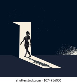 A women walking through a open door representing choices and new pathways. Conceptual business vector illustration