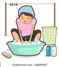washing clothes images  stock photos   vectors shutterstock Cartoon Laundry Basket Washer and Dryer Clip Art