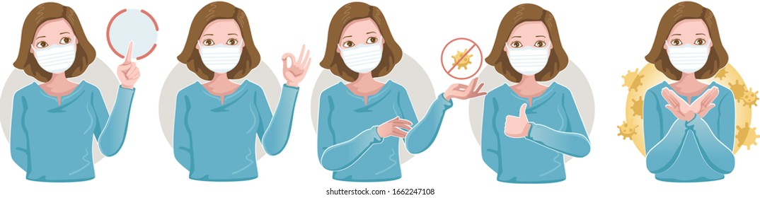 Women wearing protective medical mask for prevent virus.Many gestures. Hold, point, okay, forbid, and thumbs up. Wearing a surgical. Vector Cartoon Illustration.